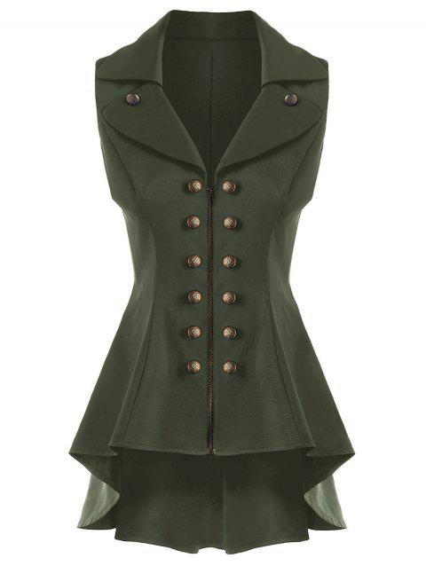 Double Breast Lapel High Low Dressy Waistcoat - ARMY GREEN L