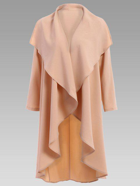 Stylish Women's Turn-Down Collar Solid Color Long Sleeves Coat - APRICOT L