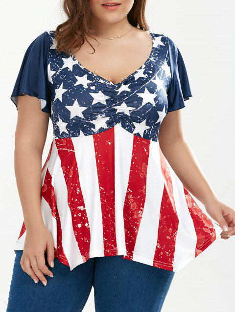 484fdcb37ab 41% OFF  2019 Ruched Plus Size Patriotic Tunic American Flag Top In ...