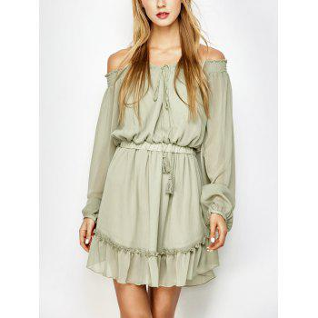 Long Sleeve Off The Shoulder Chiffon Dress