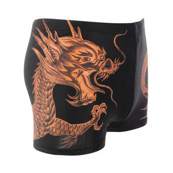 Lace Up Dragon Printed Swimming Trunks