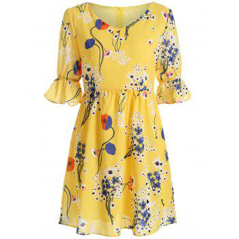 V Neck Floral Print High Waist Dress
