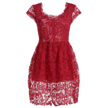 Cap Sleeve High Waist Crochet Lace Short Dress