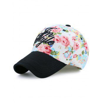 Letters Embroidered Flowers Printing Baseball Hat