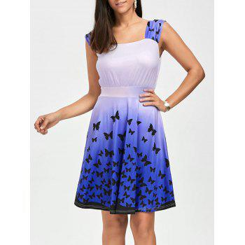 High Waist Square Neck Butterfly Print Dress