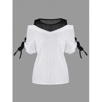 Cold Shoulder Mesh Insert Chiffon Blouse - WHITE WHITE