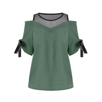 Cold Shoulder Mesh Insert Chiffon Blouse - CLOVER ONE SIZE(FIT SIZE XS TO M)