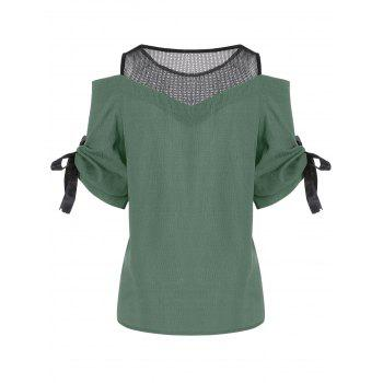 Cold Shoulder Mesh Insert Chiffon Blouse - ONE SIZE(FIT SIZE XS TO M) ONE SIZE(FIT SIZE XS TO M)