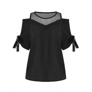 Cold Shoulder Mesh Insert Chiffon Blouse