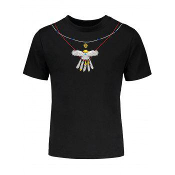 Drop Shoulder Eagle Embroidered Short Sleeve T-Shirt