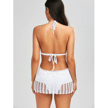 Crochet Halter One Piece Swimwear - WHITE L