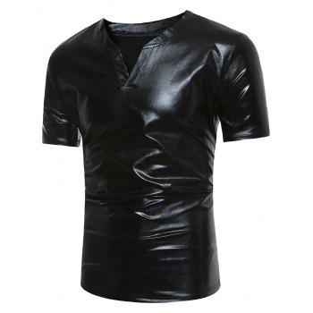 Notch Neck Short Sleeve Metallic Tee