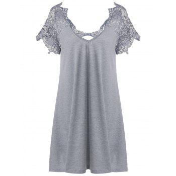 Lace Trim Cutwork Mini T-Shirt Dress