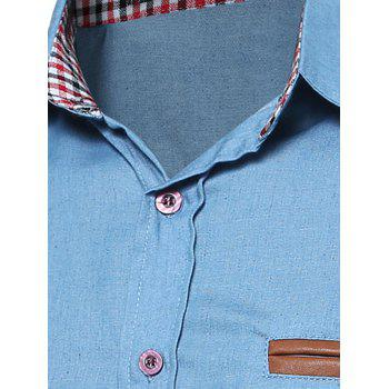 PU Panel Chambray Shirt - LIGHT BLUE S