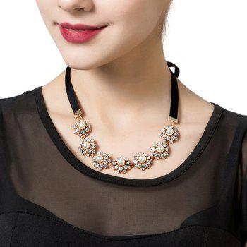 Rhinestone Faux Pearl Ribbon Necklace