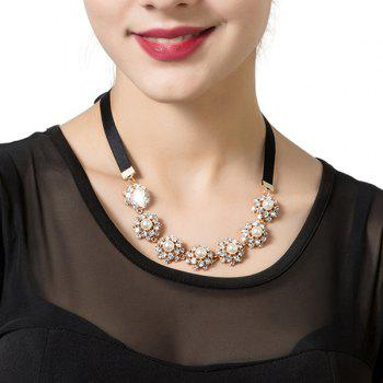 Rhinestone Faux Pearl Ribbon Necklace - BLACK