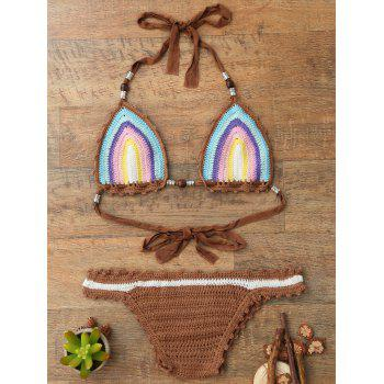 Trendy Halter Sleeveless Colored Knitted Women's Bikini Set - ONE SIZE(FIT SIZE XS TO M) ONE SIZE(FIT SIZE XS TO M)