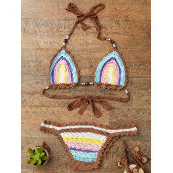Trendy Halter Sleeveless Colored Knitted Women's Bikini Set