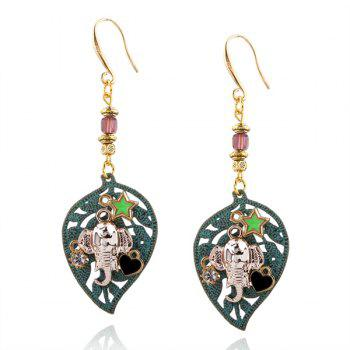 Rhinestone Leaf Elephant Heart Star Drop Earrings