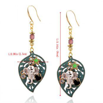 Rhinestone Leaf Elephant Heart Star Drop Earrings - BRONZE