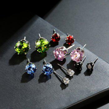 Faux Gemstone Stud Circle Earring Set - multicolorCOLOR