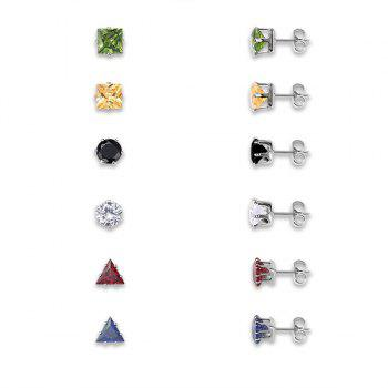 Rhinestone Alloy Geometric Stud Earring Set