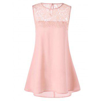 Longline Lace Trim Sleeveless Blouse