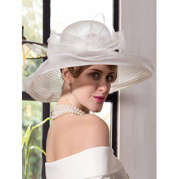 Wide Brim Organza Fedora Hat with Bowknot - IVORY WHITE