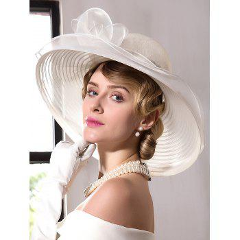 Wide Brim Organza Fedora Hat with Bowknot