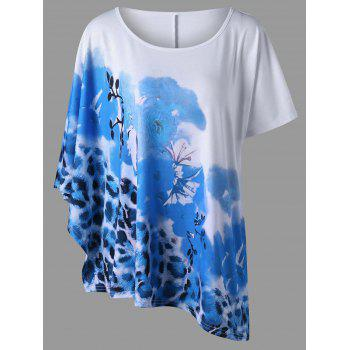 Plus Size Floral and Leopard T-Shirt