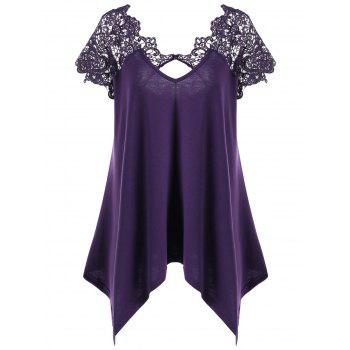 Plus Size Asymmetric Lace Trim T-Shirt