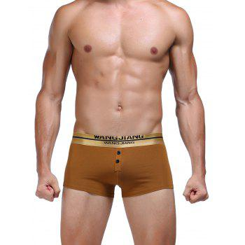 Button Embellished Band Elastic Waist Boxer Briefs