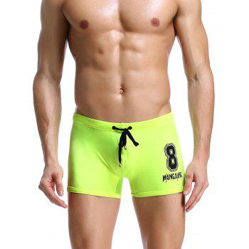 Number Pattern Drawstring Swimming Trunks