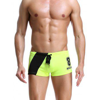 Color Block Panel Drawstring Number Print Swimming Trunks