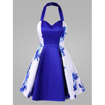 Halter Sweetheart Neck Backless Floral Pin Up Dress