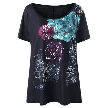 Plus Size Floral Ink Painted T-Shirt