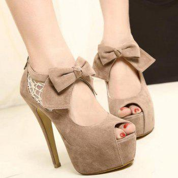 New Arrival Lace and Suede Bowknot Design Peep Toed Shoes For Women