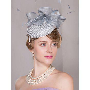 Organza Flower Feather Cambric Pillbox Hoop Hat