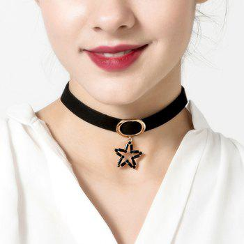 Hollowed Star Pendant Choker Necklace