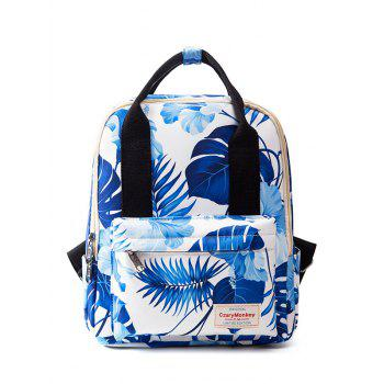 Printed Nylon Top Handle Backpack