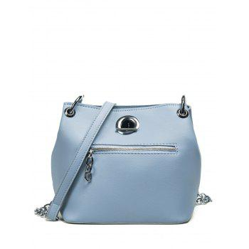 Front Zip Eyelet Chain Crossbody Bag