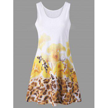 Floral and Leopard Print Summer Tank Dress