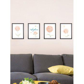 4Pcs Removable Flower Photo Frame Wall Stickers