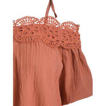 Spaghetti Strap Lace Crochet Chiffon Top - Clairet ONE SIZE(FIT SIZE XS TO M)