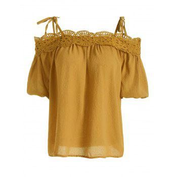 Spaghetti Strap Lace Crochet Chiffon Top - GINGER ONE SIZE(FIT SIZE XS TO M)