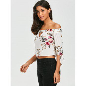 Cut Out Floral Printed Blouse - WHITE WHITE