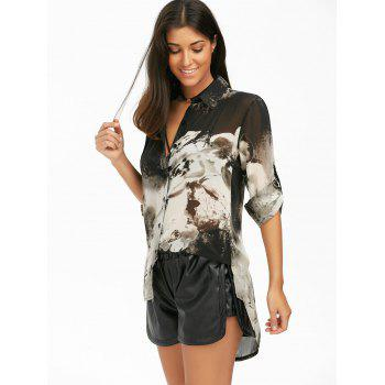 High Low Ink Painting Chiffon Blouse - BLACK M