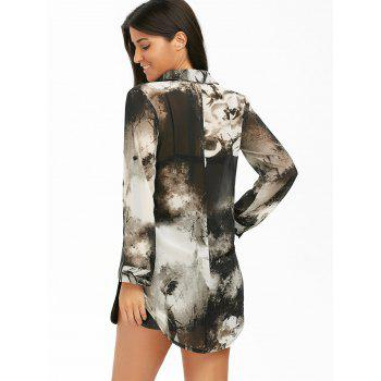 High Low Ink Painting Chiffon Blouse - M M