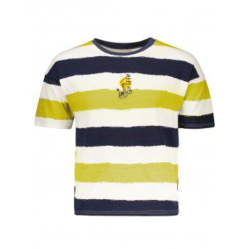 Fawn Embroidery Stripe T-Shirt