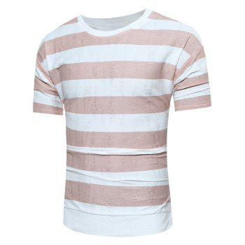 High Low Drop Shoulder Distressed Striped Tee